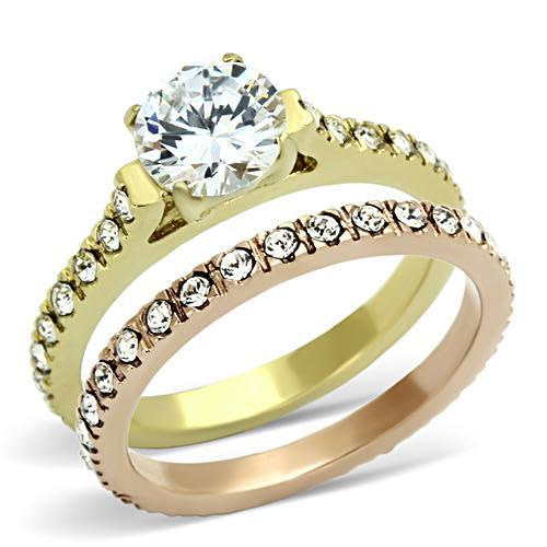 Gold and Rose Gold Ring Set, Gold engagement ring with cz's and rose gold band with cz's