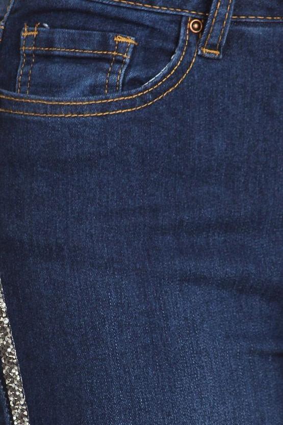stripe jeans rhinestone trim close up