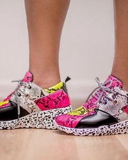 snake print sneakers in pink Sz 7