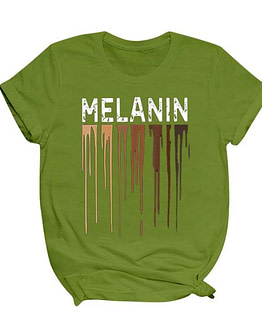 melanin t shirt in army green with white MELANIN print and colorful brown dripping graphic