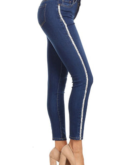 side view of stripe jeans with a rhinestone side stripe