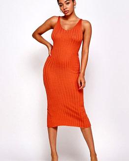 pumpkin midi dress
