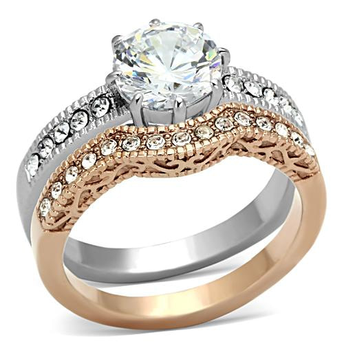 rose gold stainless steel ring set
