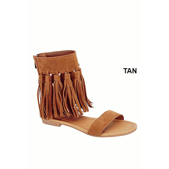 brown fringe sandals