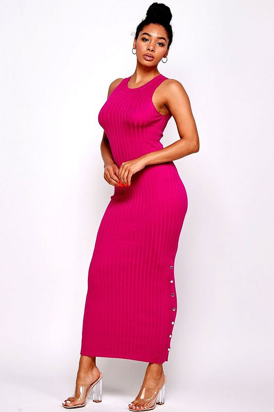 Fuchsia Knit Bodycon Maxi Dress
