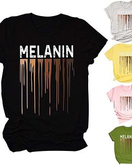 melanin t shirt in black displayed