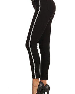 womens striped pants in black