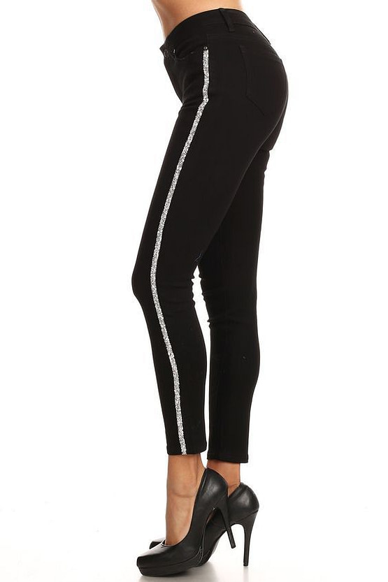 womens striped pants in black