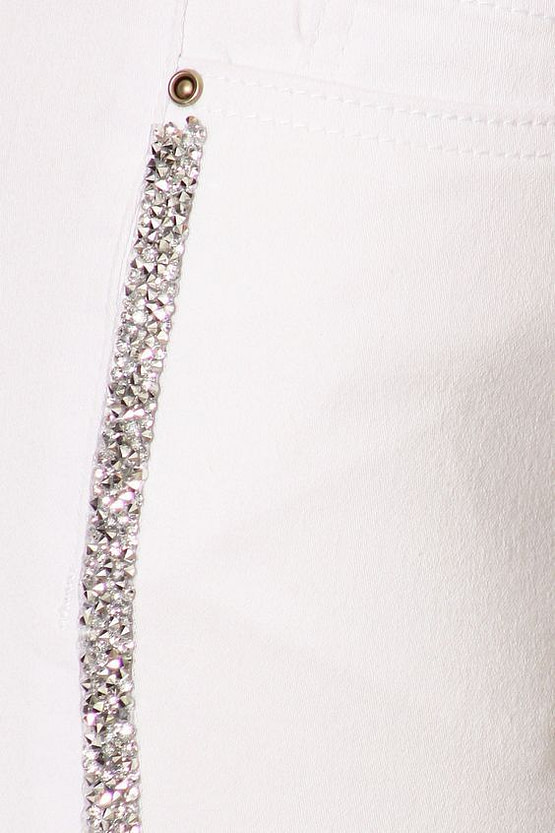 womens striped jeans close up of rhinestones