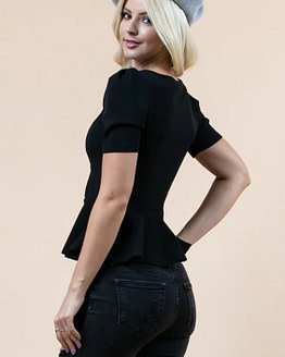 womens peplum top side view