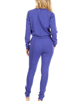 back view of blue jogger set