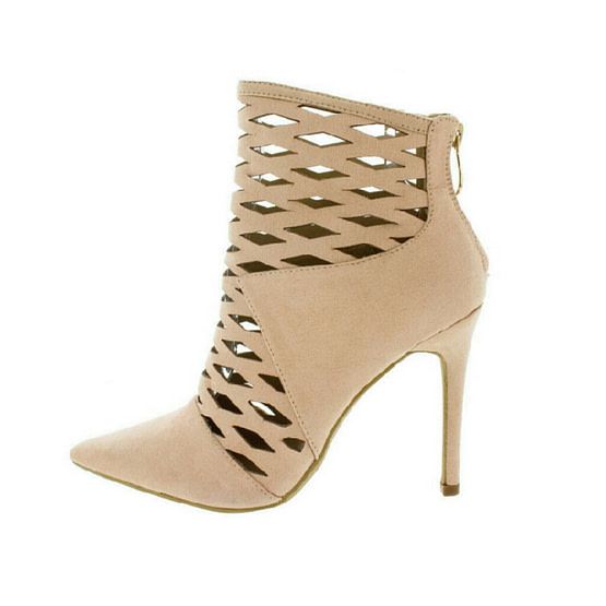 tan laser cut out booties