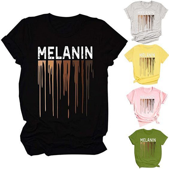 black t shirt with melanin printed in white with a multi-color brown dripping graphic