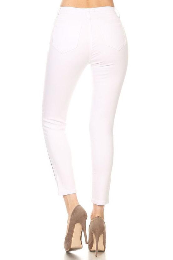 model in rhinestone jeans in white (back view)
