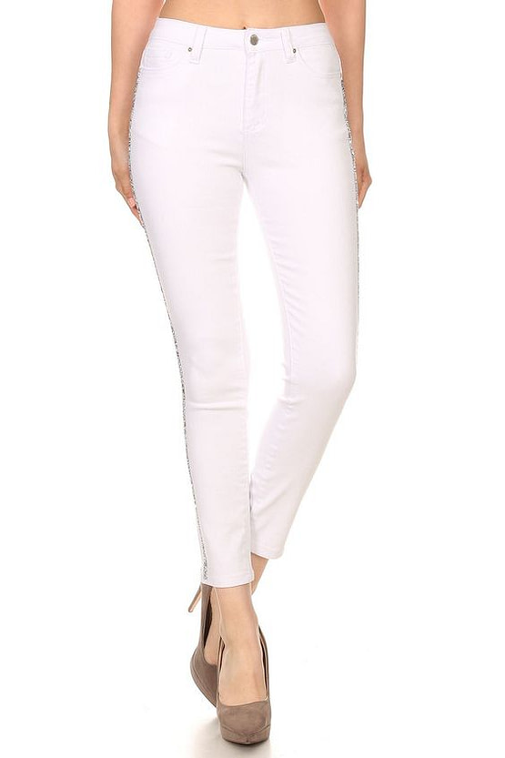 rhinestone jeans in white front view