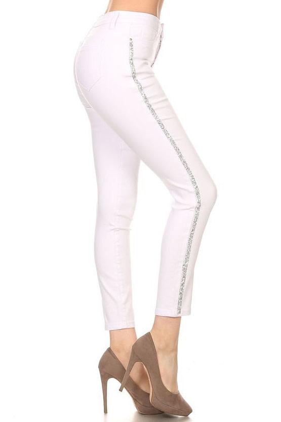 white rhinestone jeans with a side rhinestone stripe