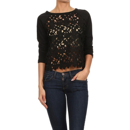 black crochet top