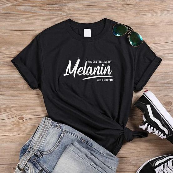 melanin poppin t shirt black