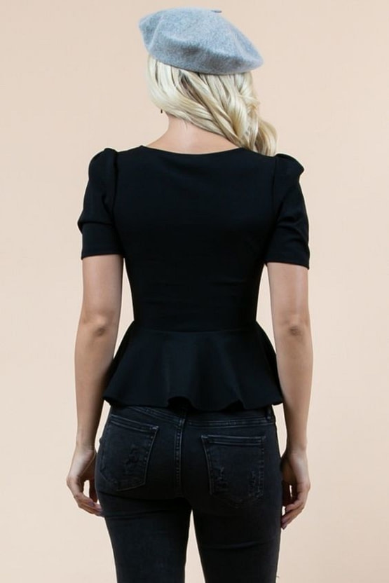 womens peplum top (back view)