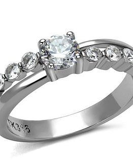 Front view of women's polished round cut stainless steel CZ ring displays a center CZ with smaller CZ's on each side.