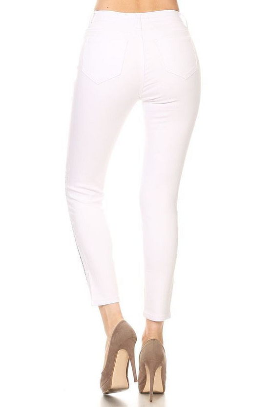 womens striped jeans (back view)