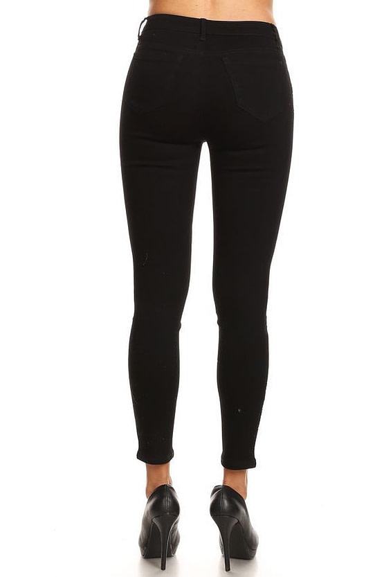 womens striped pants in black (back)