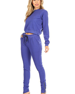 blue jogger sweatpants set