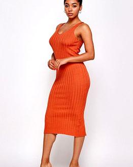 pumpkin midi bodycon dress