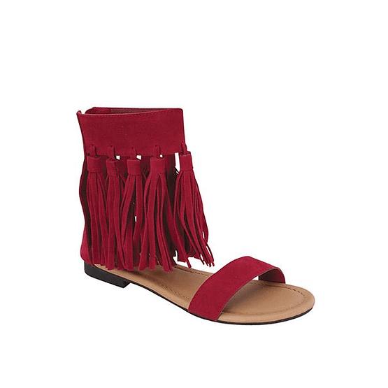 red fringe sandals