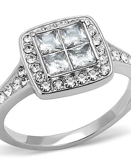 women's stainless steel cz ring with 4 cubic zirconia's in the center with 20 smaller cz's surrounding them
