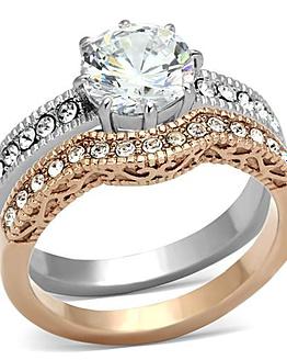 rose gold stainless steel ring set